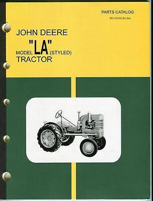 Vintage John Deere Model La Styled Dealer Parts Catalog Pc-151cc 01-54