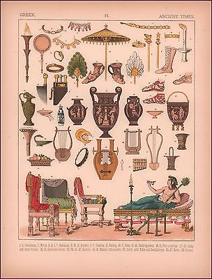 ANCIENT GREEK RELICS, HOUSEHOLD ITEMS, scarce chromolithograph original 1882
