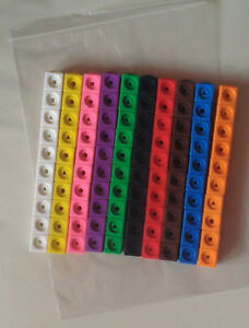 Maths link cubes (New pack of 100 cubes - 10 each of 10 different colours)