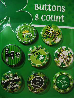 ST PATRICKS DAY DECORATIVE BUTTONS 8 PACK VARIETY..