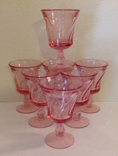 """VTG Fostoria Jamestown Swirl Pink 5 5/8"""" Water Goblet Set Of 7"""