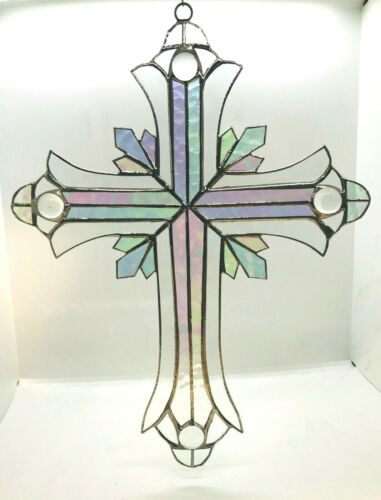 BEAUTIFUL 13 IN. STAINED GLASS CLEAR CRUCIFIX ! Stunning!  Iridescent HANDMADE !