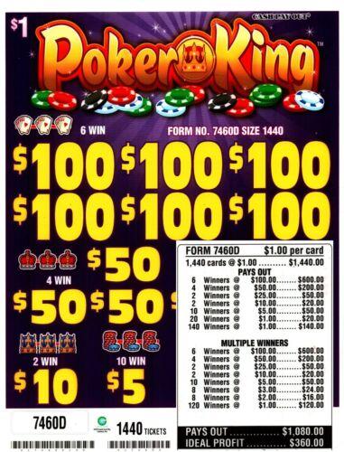1440ct POKER KING 5W $1 Pull Tab 6-$100