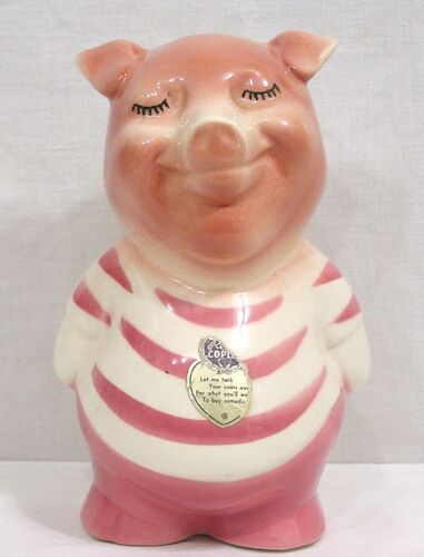 """Vtg Royal Copley Pink Piggy Bank Smiling Standing Pig Two Labels 7 3/4"""" Tall"""