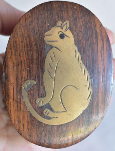Wood w/ Inlaid Brass Ferret Trinket Box