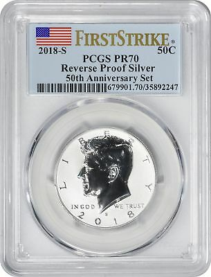 2018-S Silver Kennedy Half Reverse Proof PR70 PCGS First Strike Flag Label
