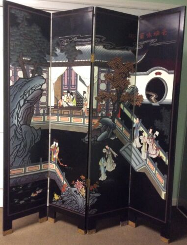 chinese furniture, hand engraved and painted wooden lacquere floor screen