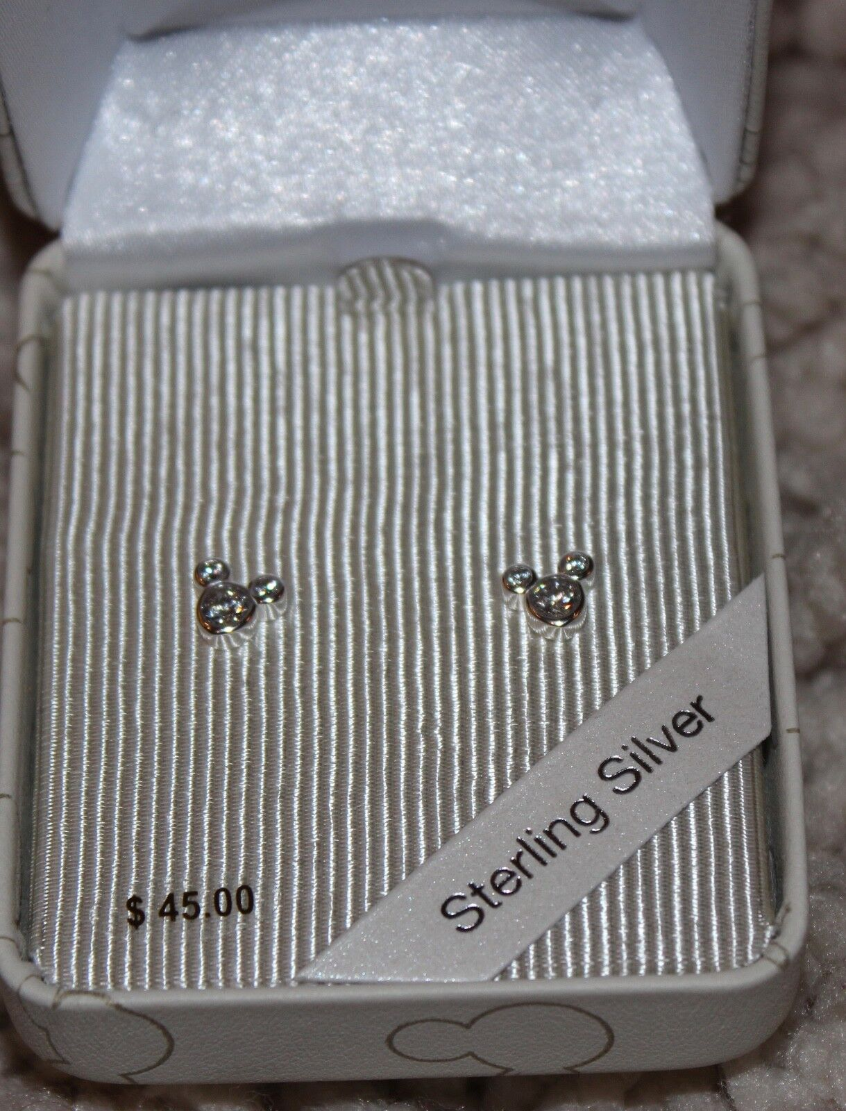 .925 Sterling Silver Disney Authentic Earrings Crystal Micke