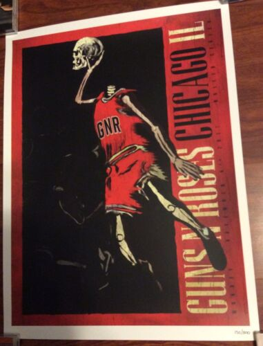 GUNS N ROSES UNITED CENTER CHICAGO 11/6/17 EVENT POSTER NUMBERED 150/300