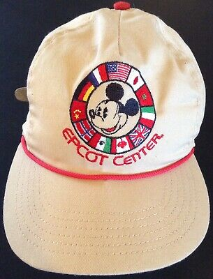 VINTAGE 1980's Disney's Epcot Center Hat Mickey Mouse OSFM 11 Country's Flags