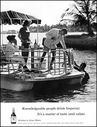 1962 Pontoon Boat couples swim Hiram Walker Whiskey vintage photo print Ad  L1