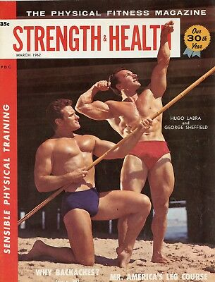 Strength & Health Magazine Hugo Labra, George Sheffield Cover Mar 1962 March , used for sale  Newmanstown