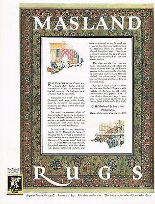 1920's BIG Vintage Masland Rug Co. Oriental Rugs Art Print Ad
