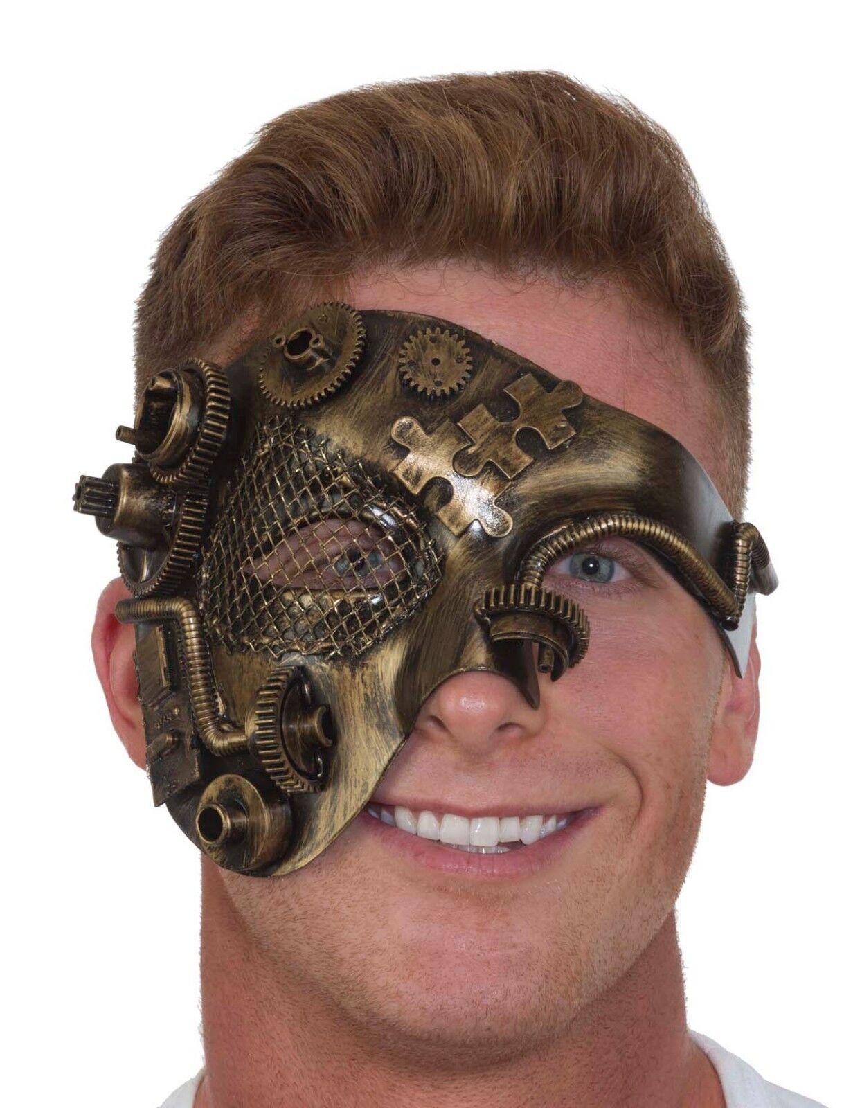 Steampunk Half Mesh Mask Industrial Gears Antiqued Scientifi