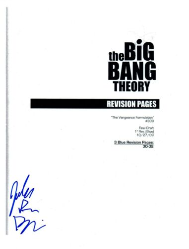 John Ross Bowie Signed THE Big Bang Theory The Vengeance Formulation Script COA