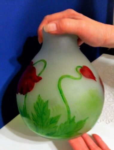 """Antique Legras Frosted Cameo Glass 8"""" Tall Vase!"""
