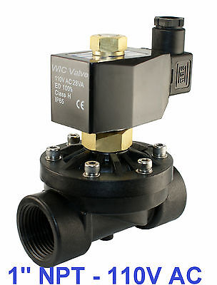 1 Inch Normally Open Plastic Zero Differential Electric Solenoid Valve 110v Ac
