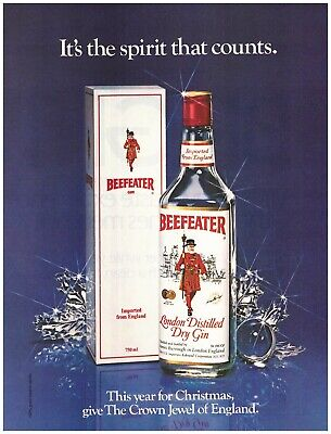 Original 1983 Beefeater London Distilled Dry Gin Christmas Vintage Print Ad  ()