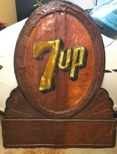 Large Vintage 7UP Americana Advertising Store SEVEN UP Embossed Metal Sign  54""