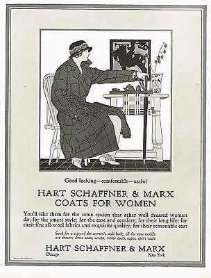 1920s BIG Vintage Hart Schaffner Marx Coat Fashion Clothing Lady Art Print Ad b