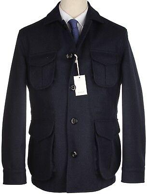 Nwt Eidos By Isaia Jacket Ragosta Navy Blue Solid Field Waterpr Wool Luxury 50 M