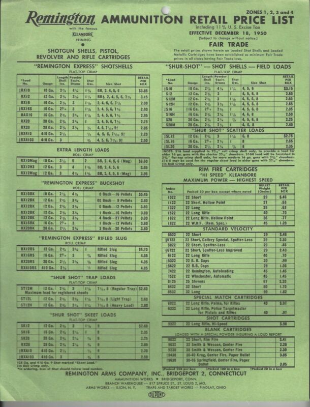 Remington Ammunition Retail Price List - December 18, 1950
