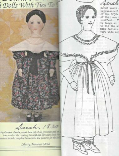 "25""PRIMITIVE CLOTH ART DOLL@1830 DRESS UNDERWEAR SHOES PATTERN EMBROIDERY DETAIL"