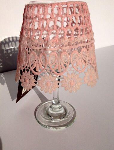 Teelichthalter mit Glas & Lampenschirm in Spitzenoptik (pink, 3 weitere Farben