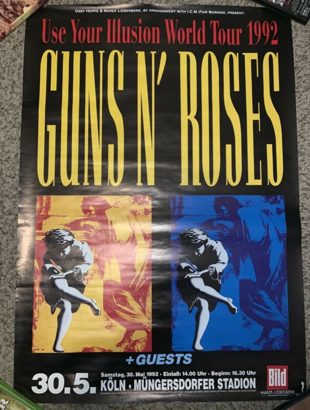 GUNS N ROSES Original German Concert Tour Poster 5/30/1992 Use Your Illusion