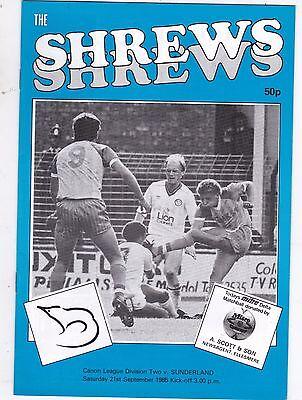 SHREWSBURY TOWN  V SUNDERLAND  2ND DIVISION  21/9/85