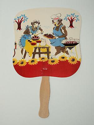 Large Paper Elsie & Elmer the Cow Borden Advertising Fan NOS New 1960s