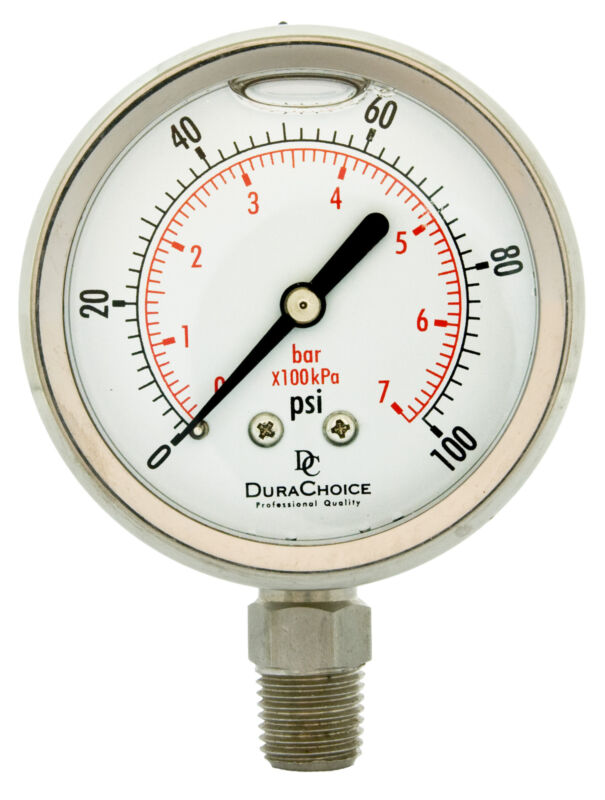 "2-1/2"" All Stainless Steel Pressure Gauge - 1/4"" NPT Lower Mnt. 100PSI"