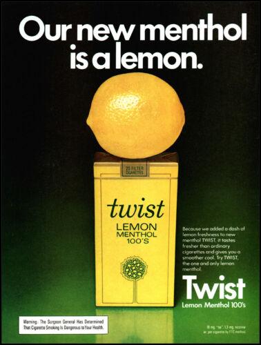 1974 Twist Lemon menthol 100s cigarettes pack vintage photo print ad ads4