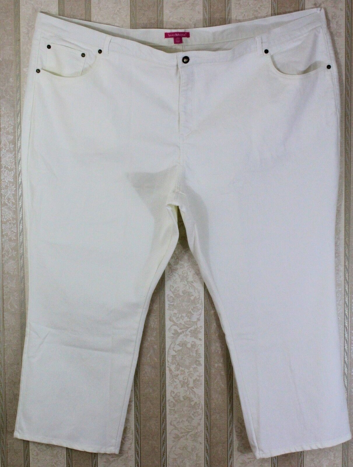 NWOT WOMAN WITHIN Women's White Straight Leg Stretch Jeans N