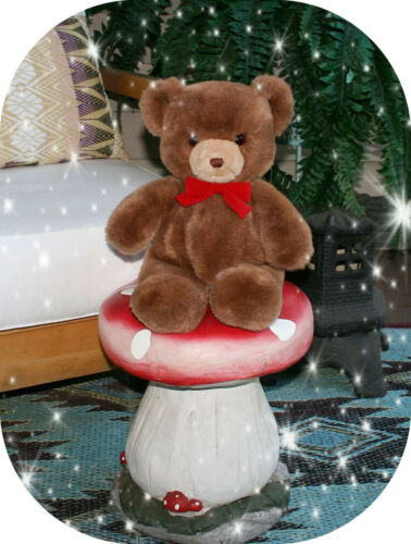 "VINTAGE 1983 GUND - Brown TENDER TEDDY BEAR with red ribbon - 16"" plush"