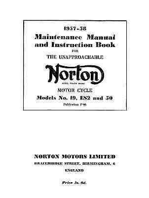 1957-1958 Norton 19S ES2 50 maintenance manual