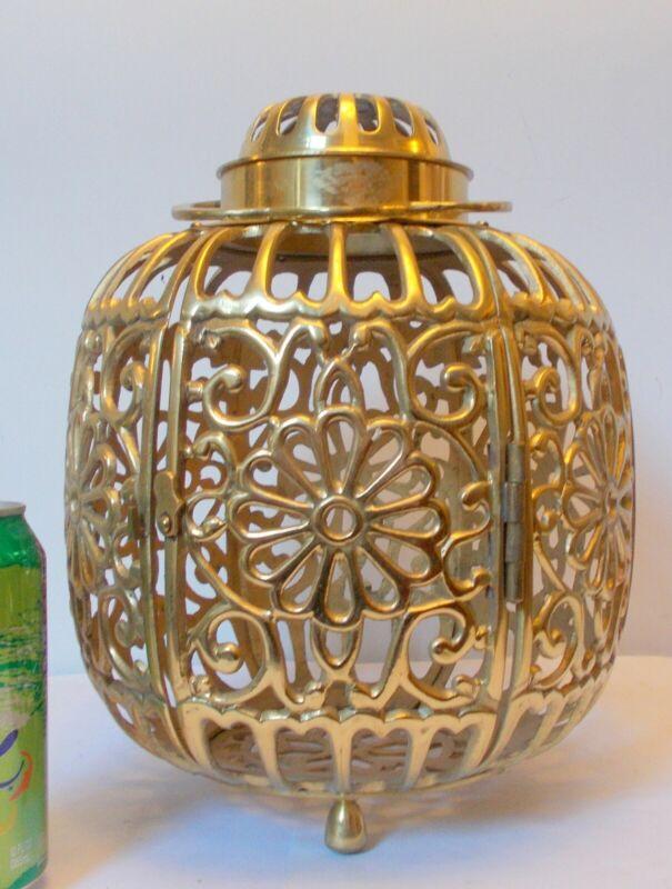 Vtg Brass JAPANESE LANTERN Candle Holder Incense Burner Reticulated FLORALS