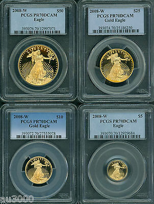Click now to see the BUY IT NOW Price! 2008-W 4-COINS AGE SET $50 $25 $10 $5 GOLD EAGLE PCGS PR70 PROOF PF70 PR70DCAM