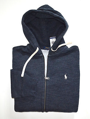 New Men's Polo Ralph Lauren Full-Zip Sweatshirt Hoodie, Blue, XL, X-Large