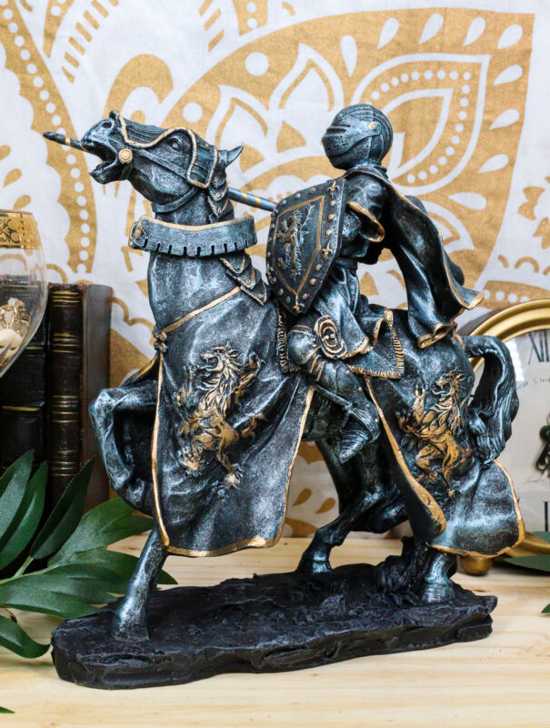"""Ebros Medieval Jousting Suit Of Armor Knight On Cavalry Horse Statue 11""""Tall"""