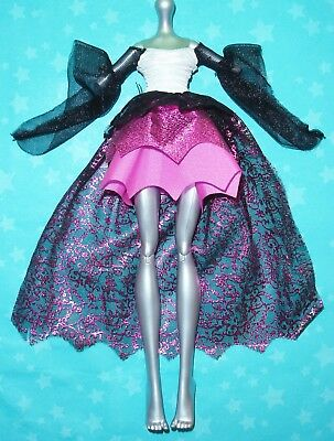 MONSTER HIGH GHOULS RULE DRACULAURA DOLL OUTFIT REPLACEMENT PINK & BLACK DRESS