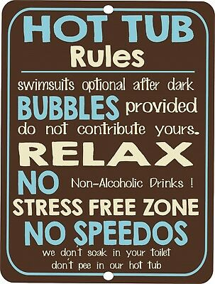 Vintage retro style funny HOT TUB RULES metal Tin sign Metal wall door (Vintage Style Tin)