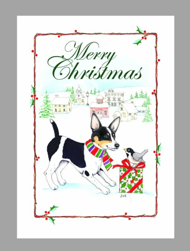 Rat Terrier Dog, Black & White Christmas Cards, Box of 16 Cards & 16 Envelopes