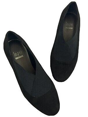 IMPO Resty Womens Size 9 M Elastic Criss Cross Top,Wedge Black Slip-On Shoe(N15)