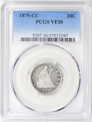 1875-CC Twenty Cent Piece 20C PCGS VF30 tough type coin