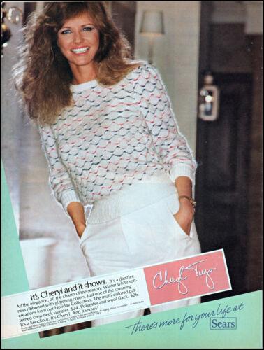 1983 Cheryl Tiegs modeling Sears holiday clothing retro photo print ad ads13