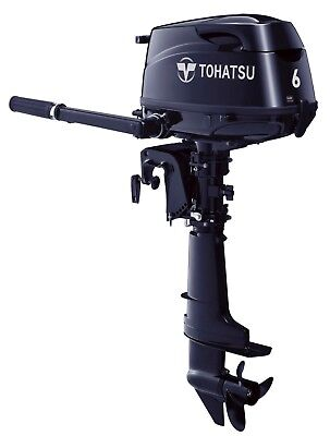 NEW!! TOHATSU 6HP Long Shaft Manual Start & Tiller Control 4-Stroke Outboard