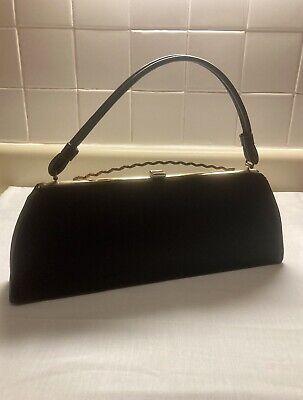 1950s Handbags, Purses, and Evening Bag Styles Vintage 1950s-60s Black Purse Handbag Pocketbook w/ Red Lining & Clasp Closure $30.00 AT vintagedancer.com