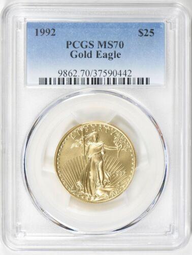 1992 $25 GOLD EAGLE PCGS MS70 POP 34 COINS Low Mintage