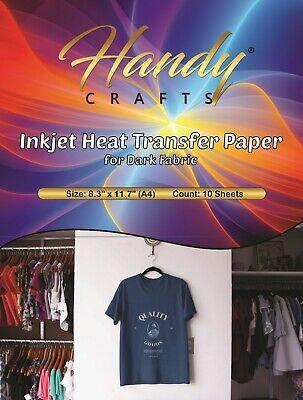 Inkjet Heat Transfer Paper For Dark Fabric 8.3 X 11.7 A4 10 Sheets